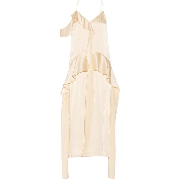 Jonathan Simkhai Ruffled silk-satin midi dress ($1,055) ❤ liked on Polyvore featuring dresses, cream, pink cocktail dress, metallic cocktail dress, pink frilly dress, slimming cocktail dresses and cream midi dress