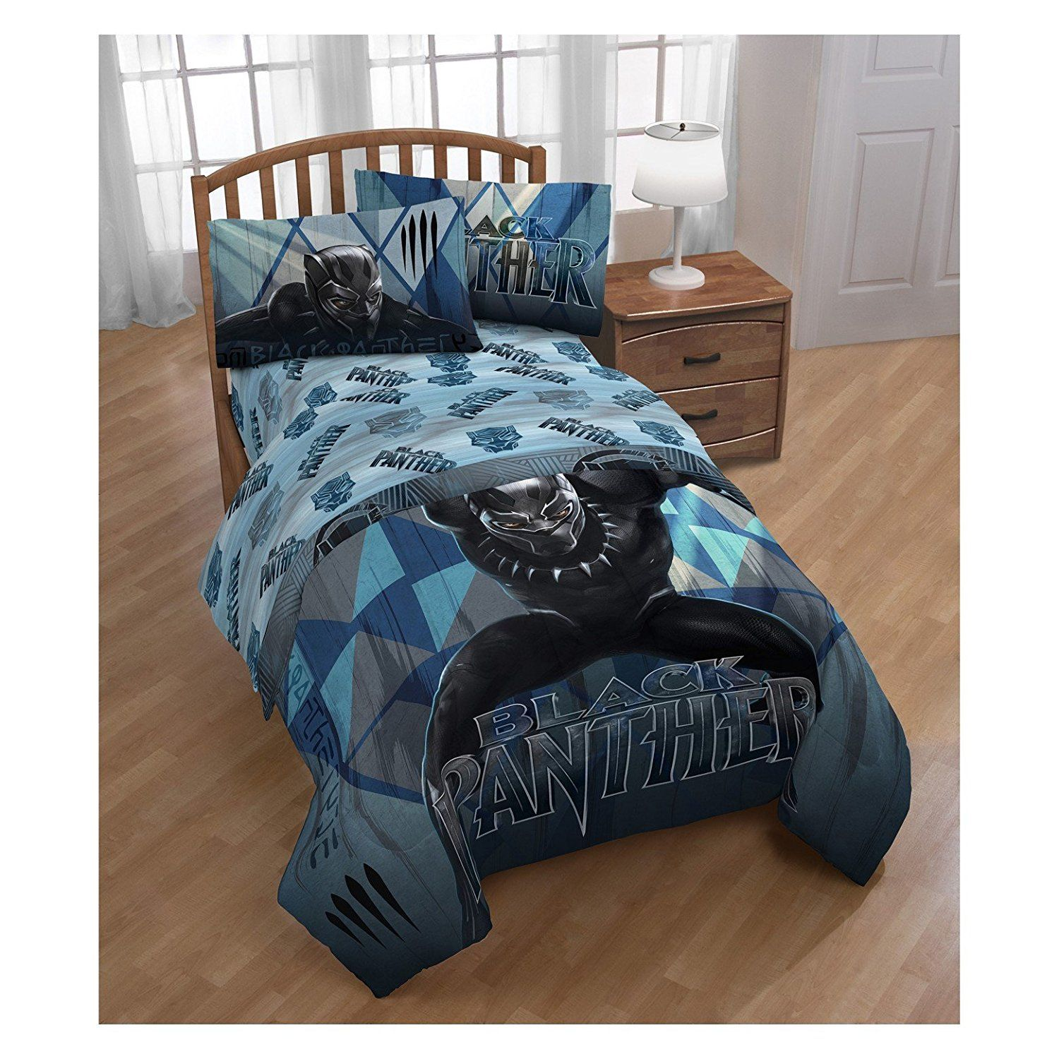Marvel Black Panther Twin Comforter And Sheet Set Black Panther L