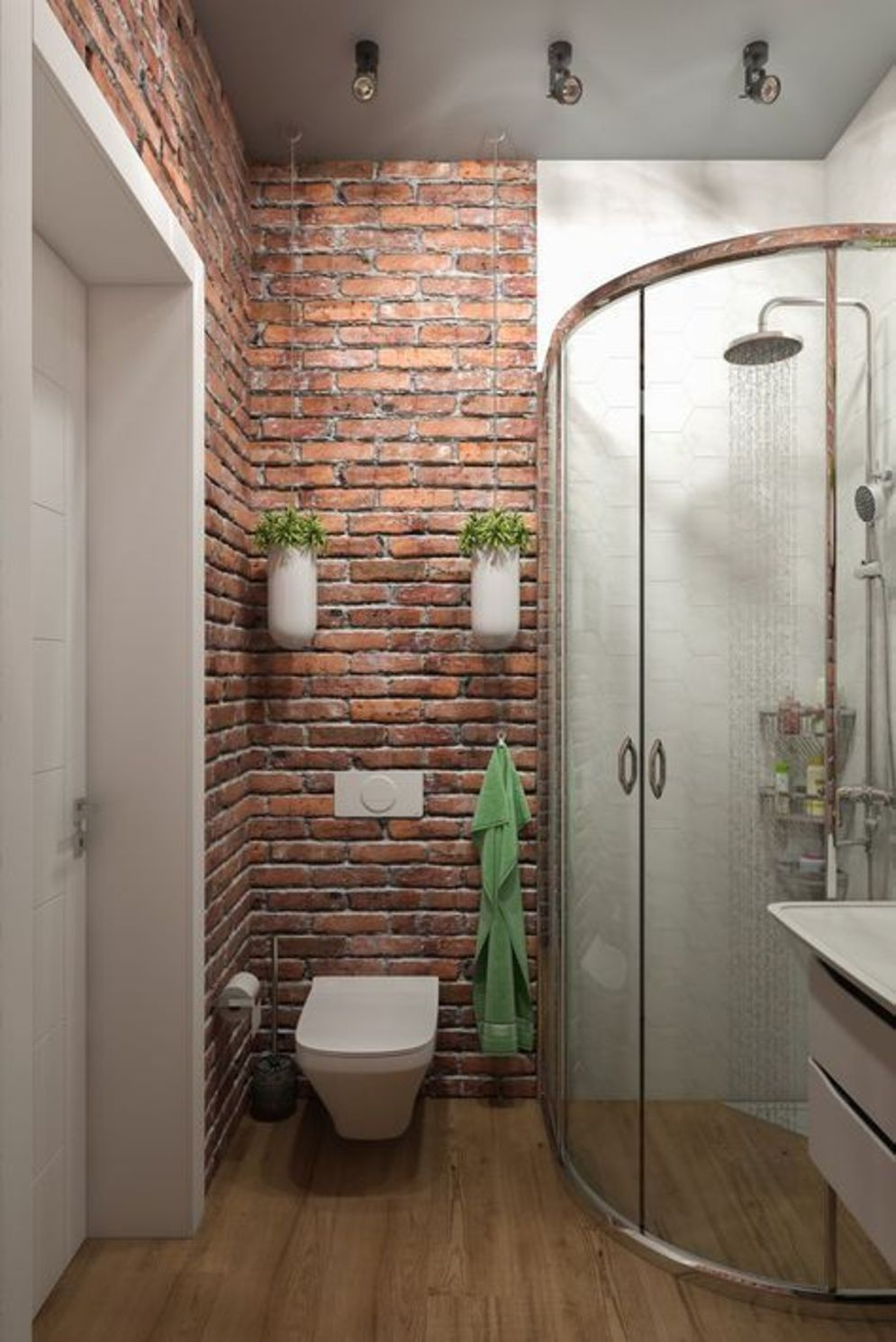Modern Rustic Bathroom Styles Showing Amazing Viewpoint Of Brick Wall Decoration Image 29 Shairoom Com Brick Tiles Bathroom Brick Bathroom Small Bathroom Makeover