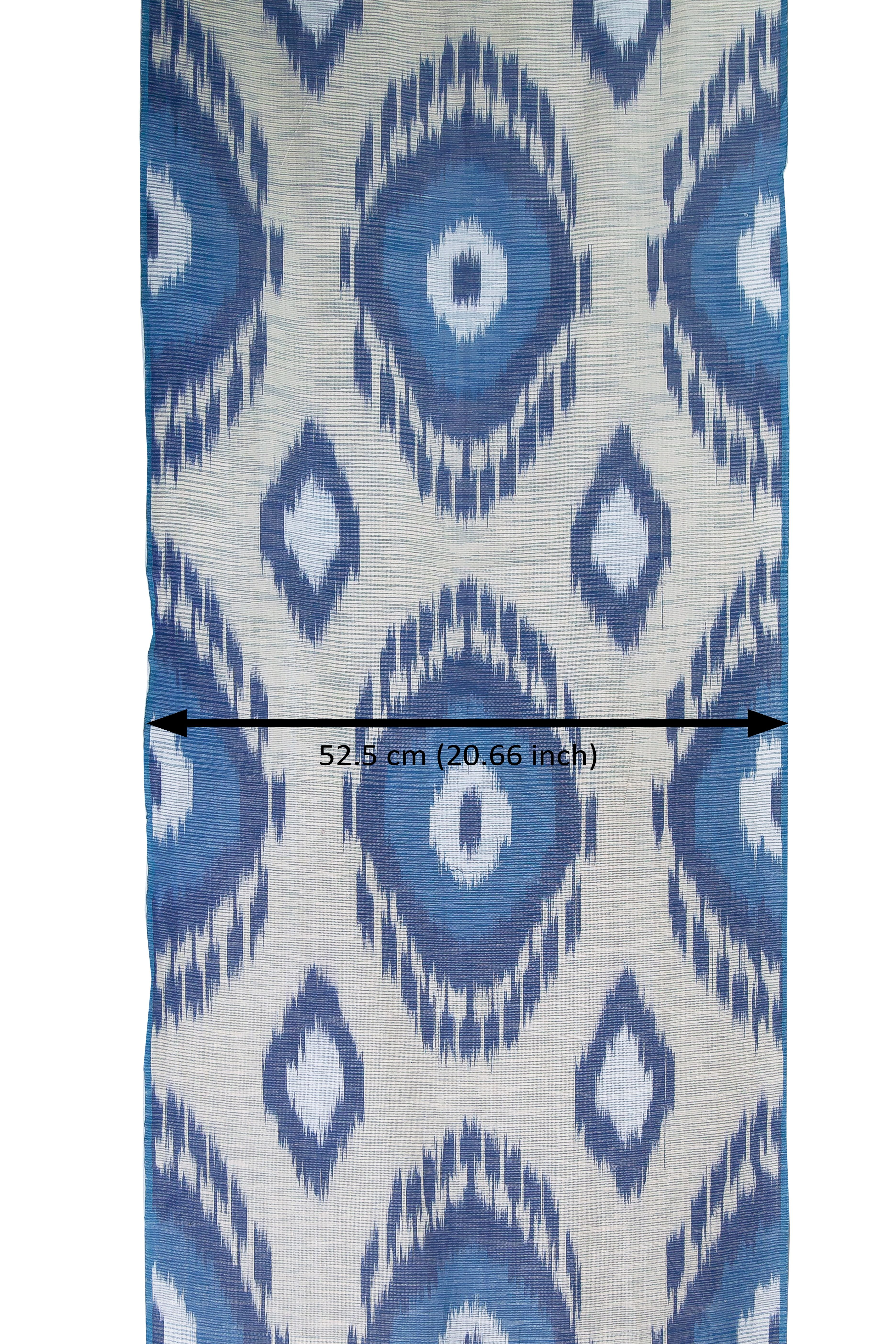 Blue Cotton Ikat Fabric By The Yard Upholstery Handwoven Fabric