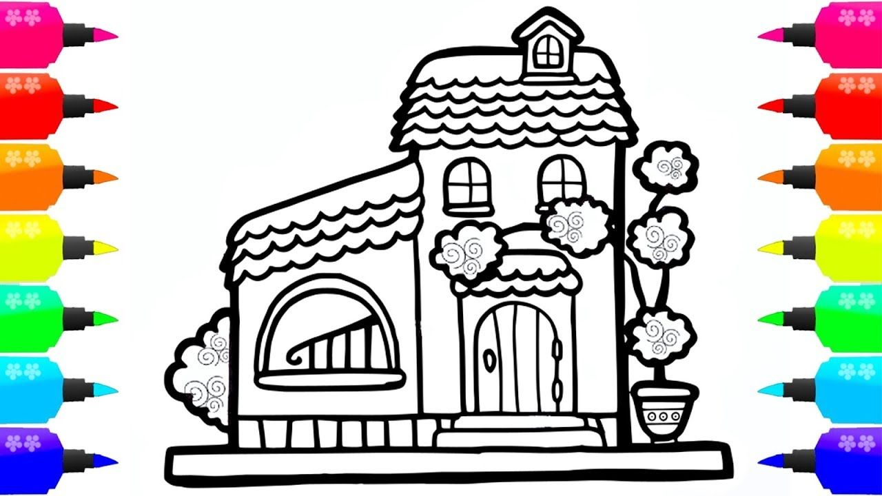Coloring House for Kids | Paint for toddlers and Drawing ...