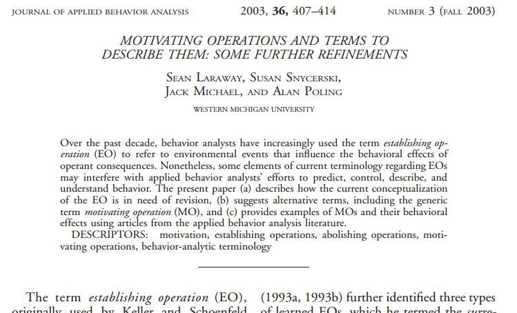 PDF: Motivating operations and terms to describe them: Some further refinements