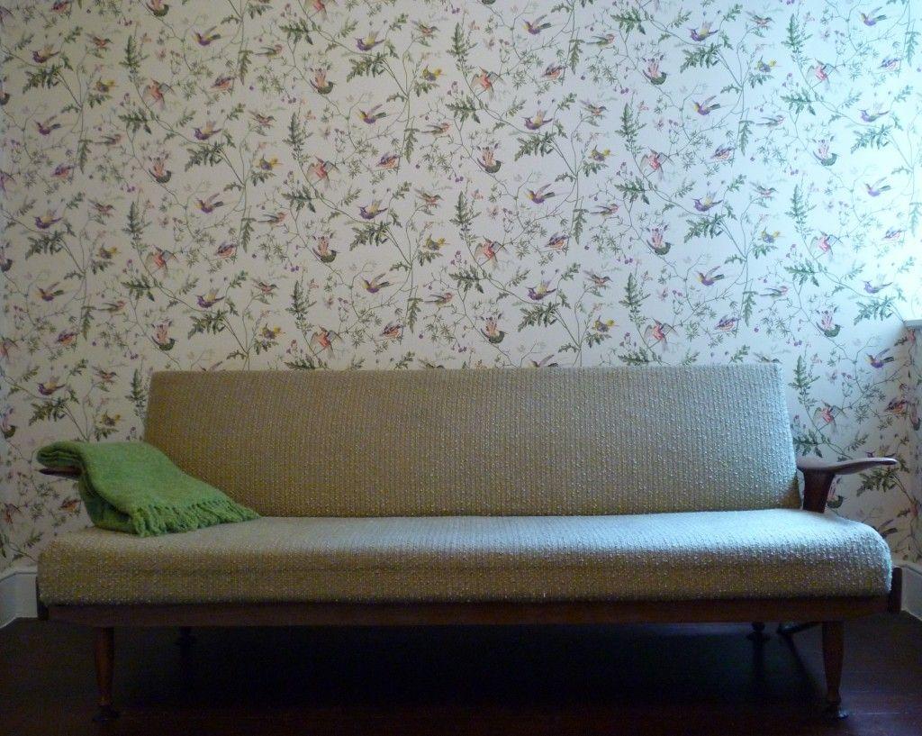 Beautiful Hummingbird paper with vintage sofa.