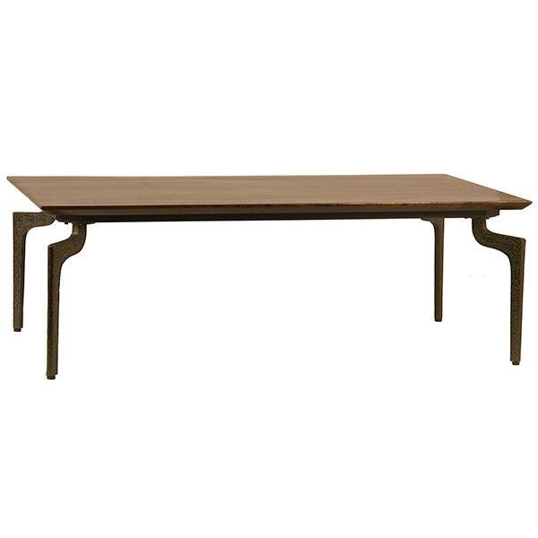 Ronnie ArtDeco Coffee Table with Hammered Frame and Hardwood Top