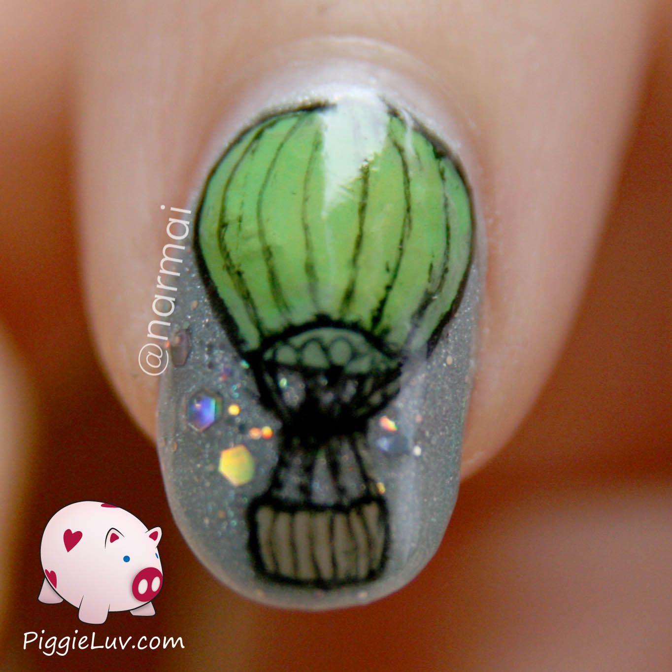 Hot air balloon nail art - Nagelkunst, Vliegt weg en Techno