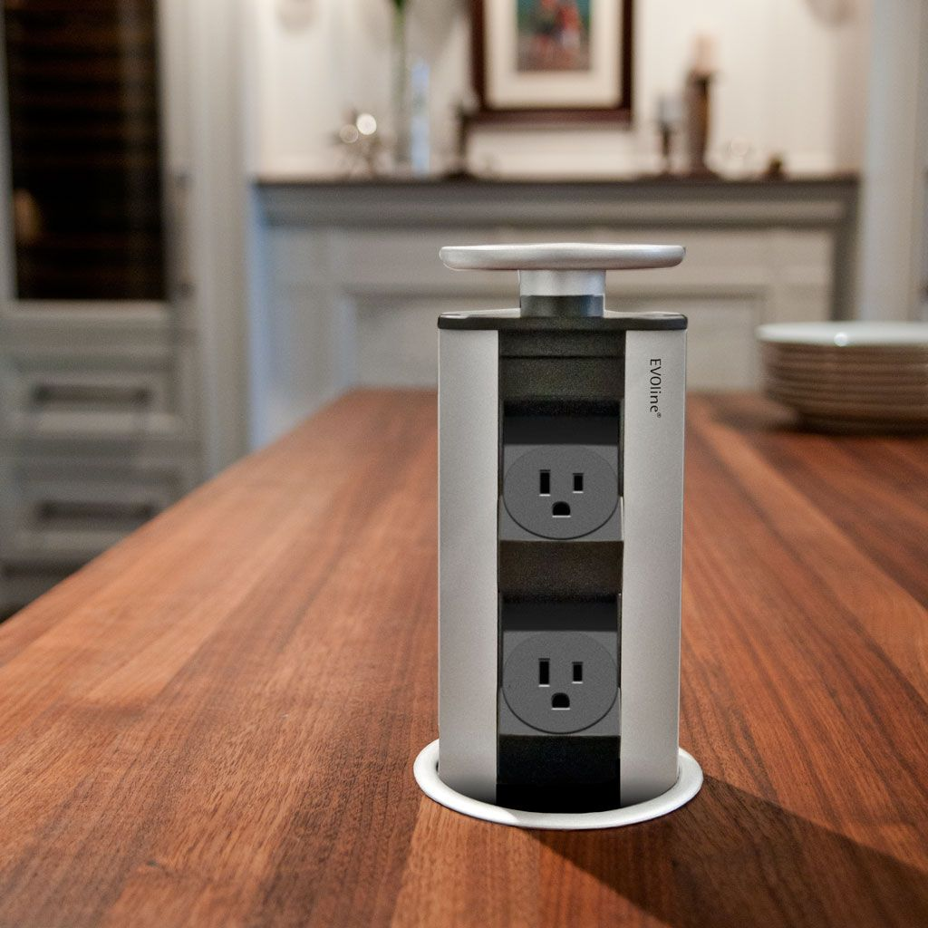 EVOline® Port 1128, Simple Pop Up Power For Kitchen Countertops!