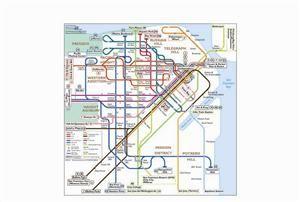 San Francisco Transport Map Usa Trolley Cable Car Tram Bart