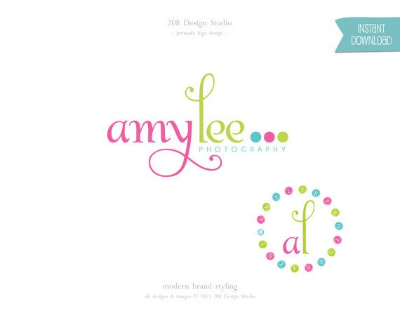 INSTANT DOWNLOAD - Premade Logo and Watermark with bonus photo stamp - Colorful script Photography (057)