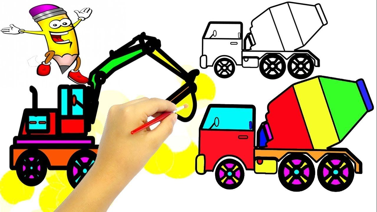 Excavator Coloring Pages Mixer Truck Construction Vehicles And