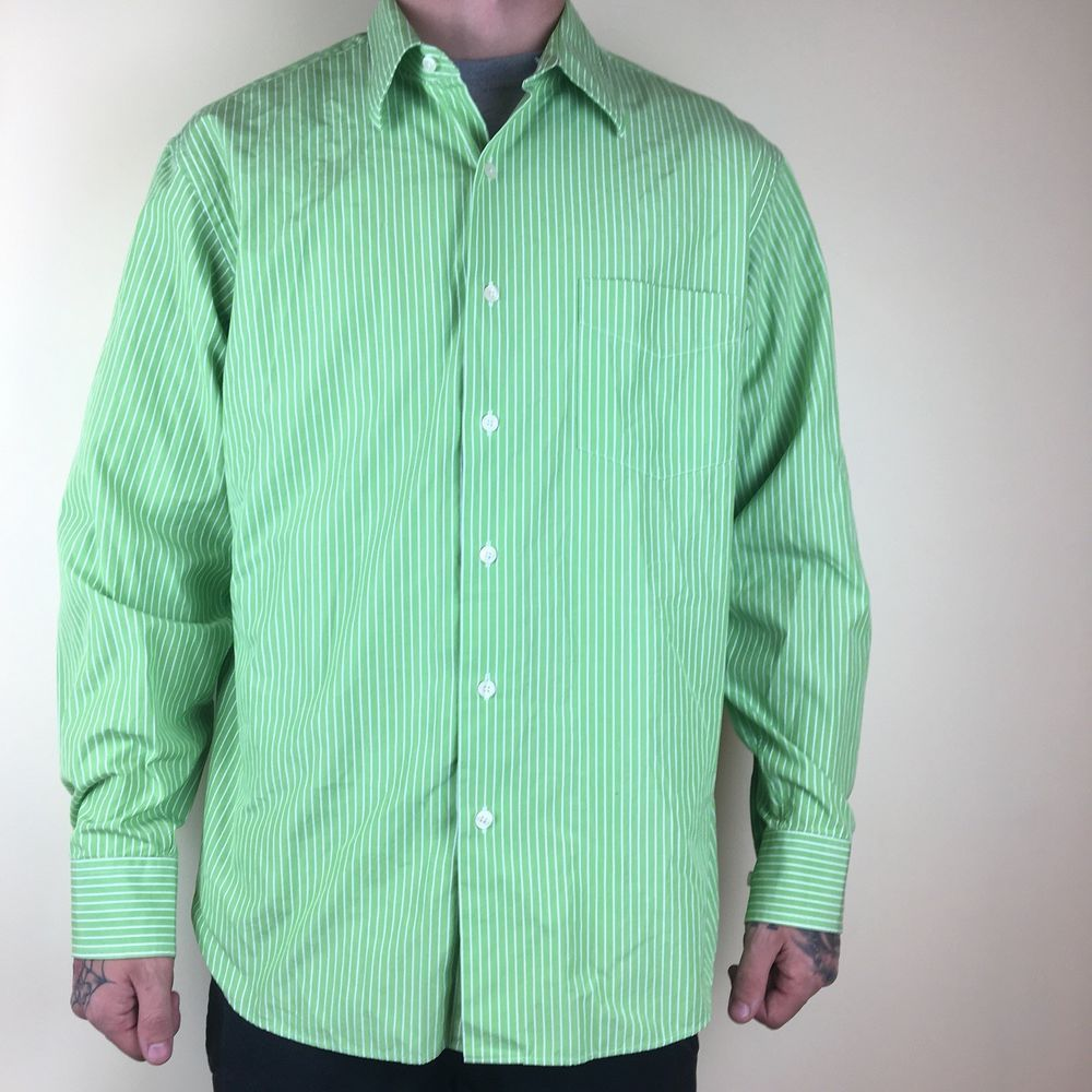 a82bb96c0c J.Crew Mens Button Down Long Sleeve Shirt Green White Striped Size Large L  #fashion #clothing #shoes #accessories #mensclothing #shirts (ebay link)
