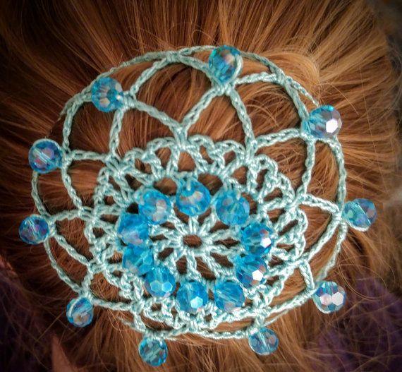 Elegant blue aqua teal crochet snood bun cover with beads ...
