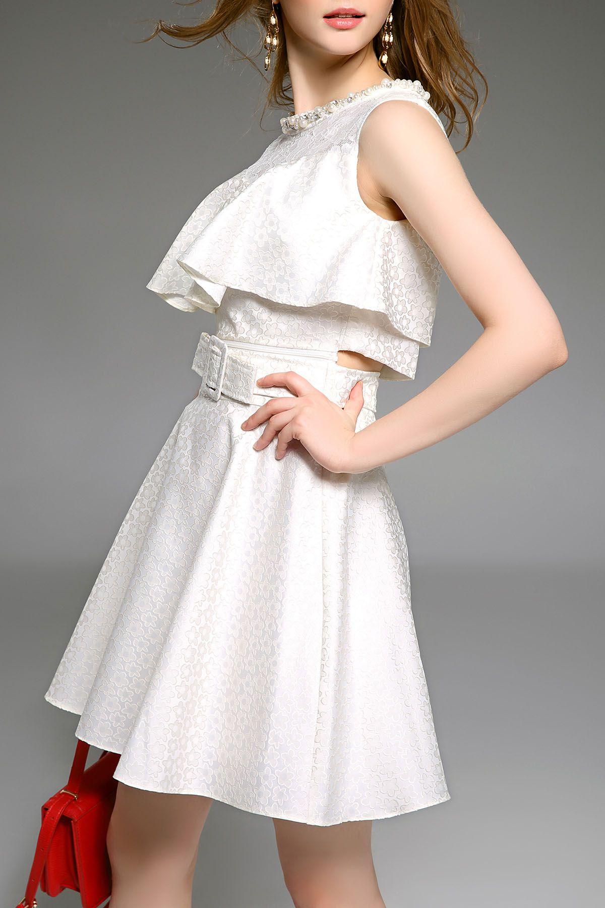 Offwhite flounced waist cut out dress dresses dezzal dress