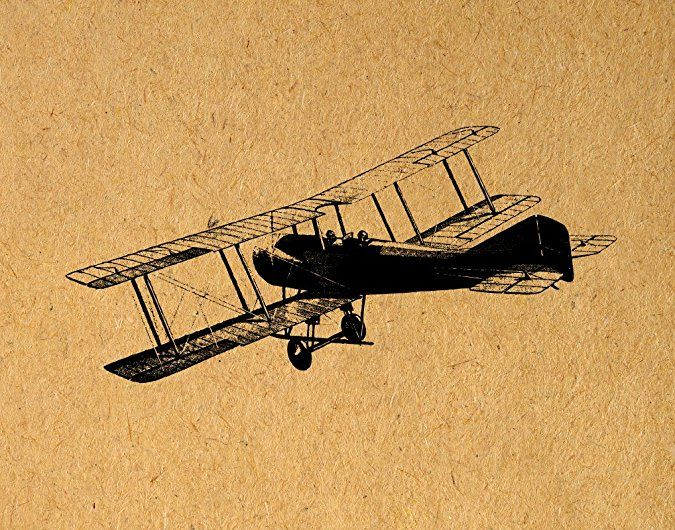 Antique Airplane Print with a Real Vintage Plane Illustration in a ...