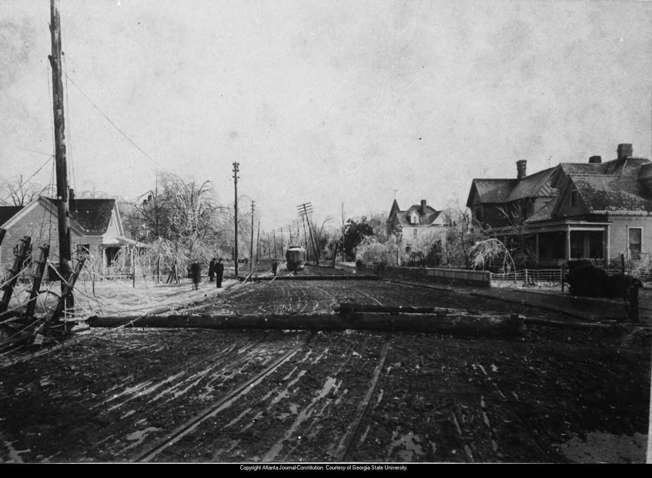 """1908 - Copy negative of 1908 print. Negative envelope inscribed """"Ice storm."""" This is probably a view of the damage caused in Gainesville, Georgia, on January 31 or February 9-10, 1908, when two ice storms devastated the city, falling trees and utility wires."""