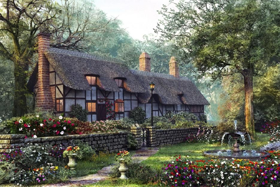 lovely cottage, beautiful, cottage, flowers, fountain, garden, grass,  house, smokestackes, trees, urns, wall, water,… | Old cottage, Cottage  exterior, Dream cottage