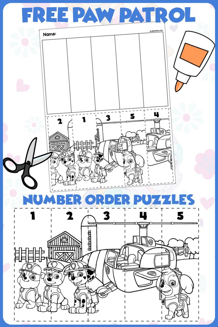 Preschool Paw Patrol Number Order Materials Preschool Learning Activities Preschool Activities Pre Writing Activities [ 1104 x 736 Pixel ]