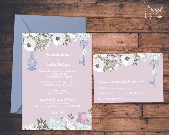 Alice in Wonderland Wedding Invitation Template FREE Response Card - pages invitation templates free