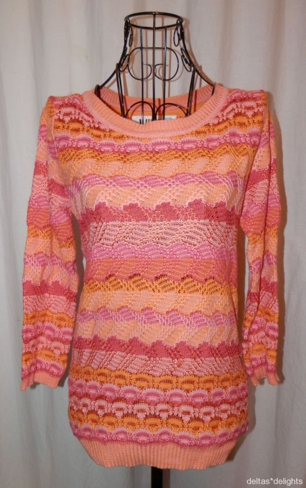 SPARROW SWEATER S Small Orange Pink Scallop Stitch Pullover ...