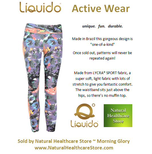 Liquido Activewear. Morning Glory Patterned Hot Pants. unique. fun. durable. one-of-a-kind. limited edition prints.  http://www.naturalhealthcarestore.com/