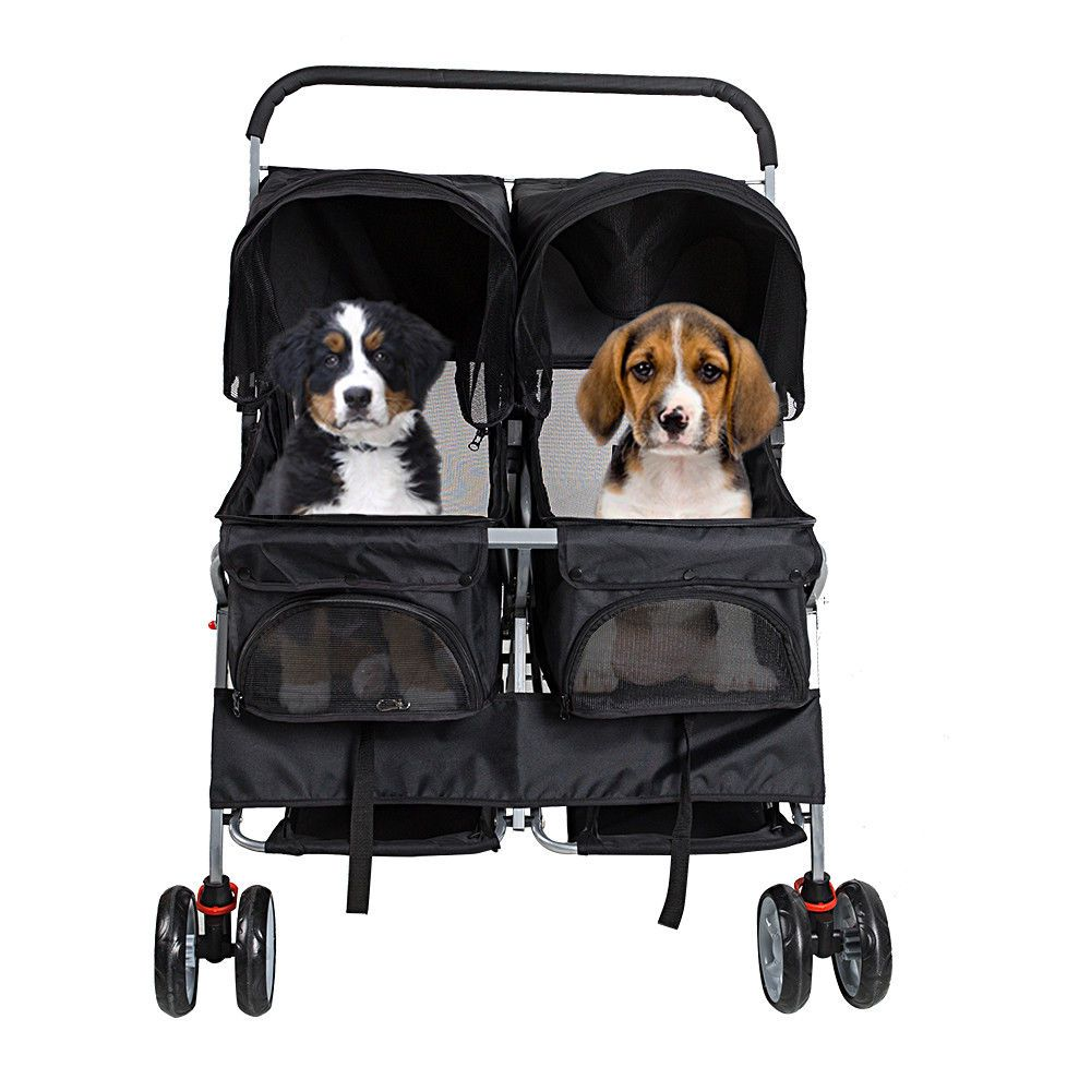 Strollers 116380 4 Wheel Double Seat Pet Stroller Cat Dog