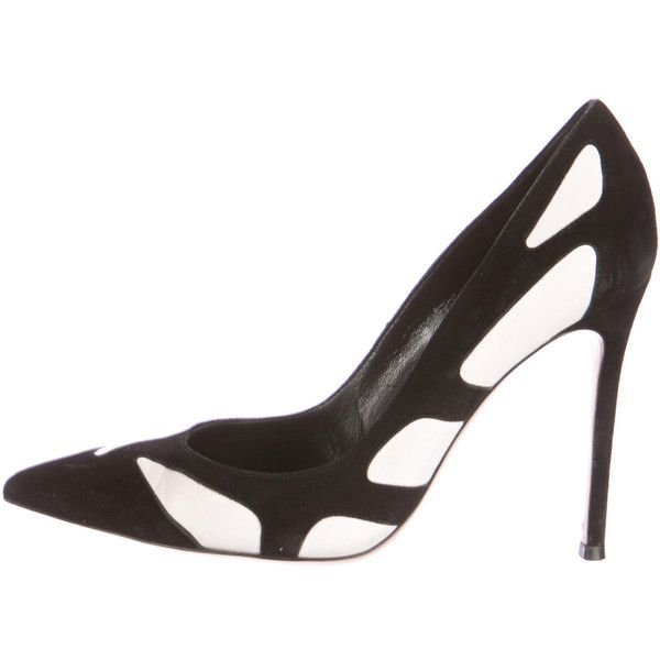 Pre-owned Gianvito Rossi Suede Pointed-Toe  Pumps ($265) ❤ liked on Polyvore featuring shoes, pumps, black, suede pumps, suede shoes, pointy toe pumps, white suede shoes and gianvito rossi