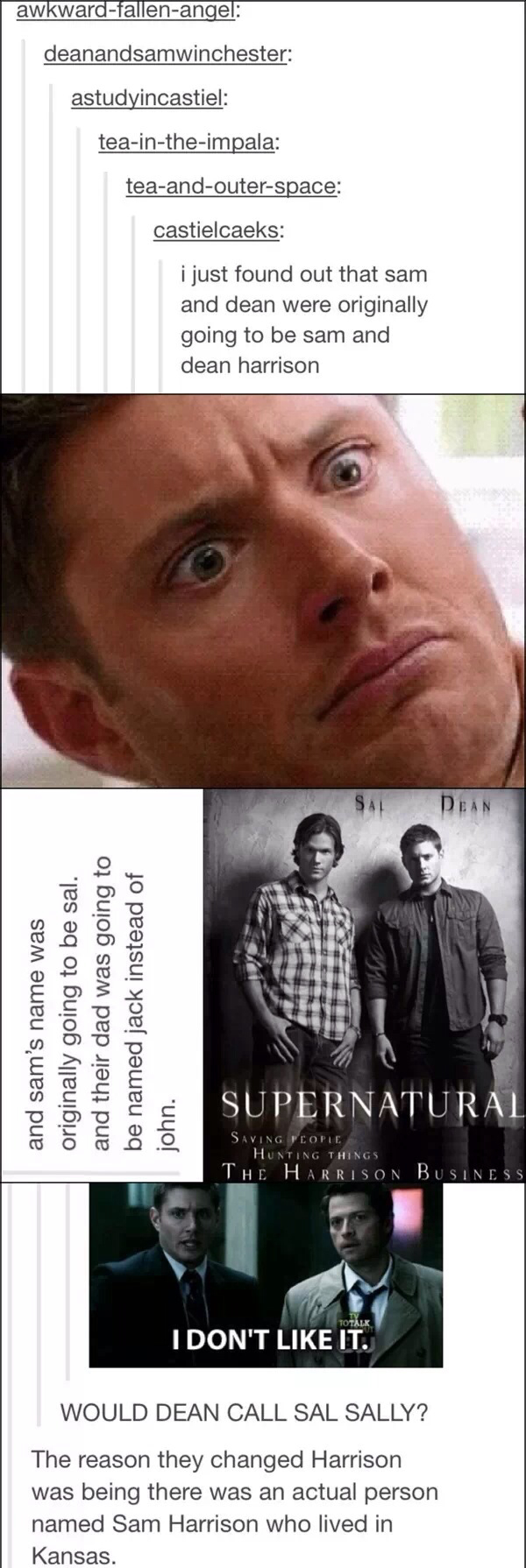 Jack, Sal, and Dean Winchester. Dear gods I'm glad they changed it.