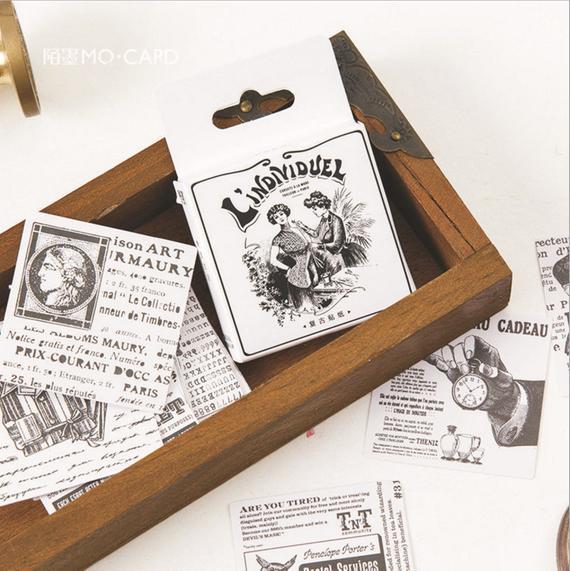 Mini DIY Cute Sticker Vintage Sticky Paper for Scrapbooking Decoration 52 PcS