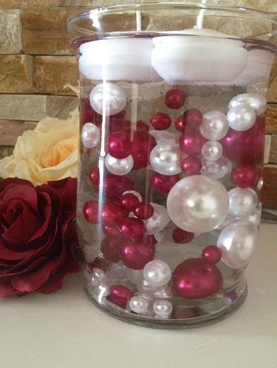 80pc Cranberry Redwhite Pearls Floating Pearls Decors Jumbo