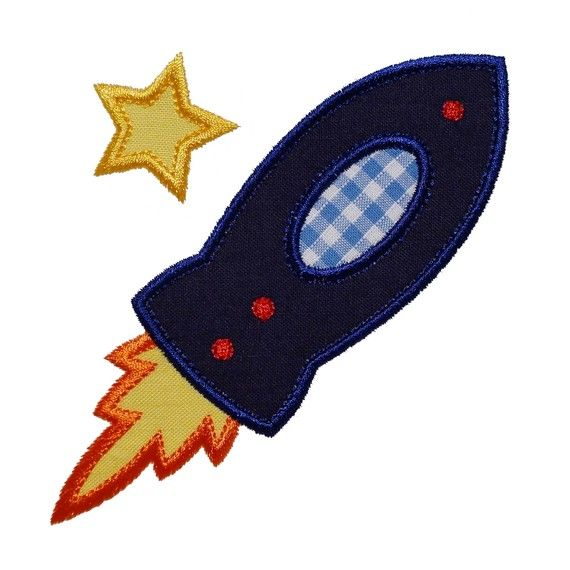 ROCKET SHIP Machine Embroidery Applique Design Pattern in 3 sizes