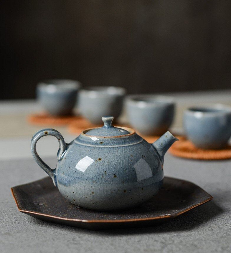 Handmade Ceramic Teapot Vintage Style Blue Glaze Handmade Etsy Ceramic Teapots Tea Pots Vintage Pottery Teapots