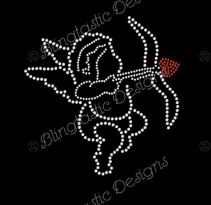 Cupid with arrow rhinestone design in all clear rhinestones. Valentines motif is approximately 5.3 x 5.6.