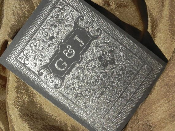 Vintage Embossed Book Cover and Pages by WhiteGownInvitations, $550
