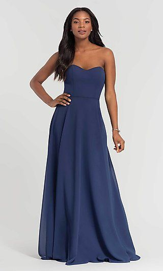 b6330da8544 Removable-Straps Long Kleinfeld Bridesmaid Dress