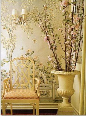neutrals and metallics mix beautifully on hand-painted wallpaper