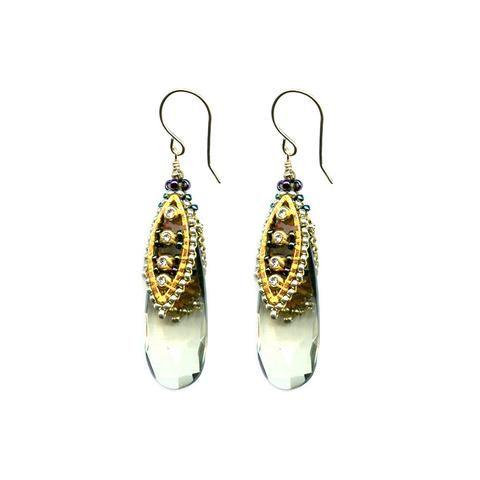 Swarovski Crystal & Miyuki Bead Drop Earrings
