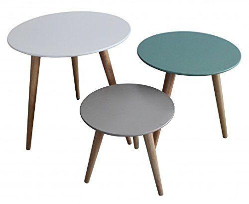 inwood - 3x table gigogne ronde en bois blanche, bleue et grise