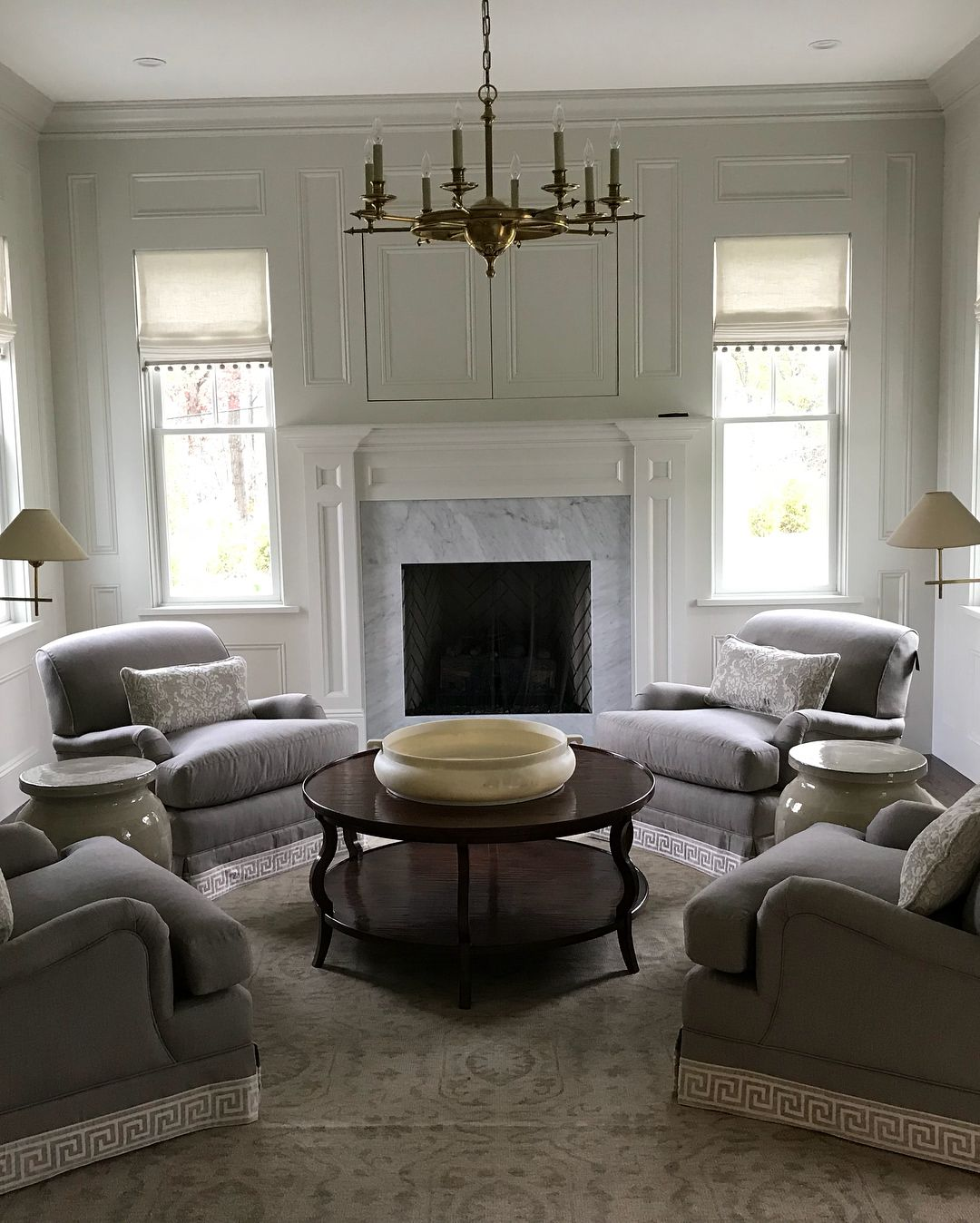 4 Comfy Chairs Around A Round Coffee Table 2 Side Tables Skinny Floor Lamp [ 1348 x 1080 Pixel ]