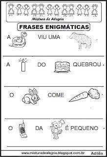 Frases Enigmaticas Para Alfabetizacao Imprimir E Colorir Com