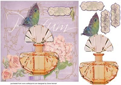 Victorian Butterfly Parfum on Craftsuprint designed by Diane Hannah - Victorian Butterfly Parfum. Simple to make, and so elegant. For a fast and easy card, see the tutorial. A great card suitable for many occasions. - Now available for download!