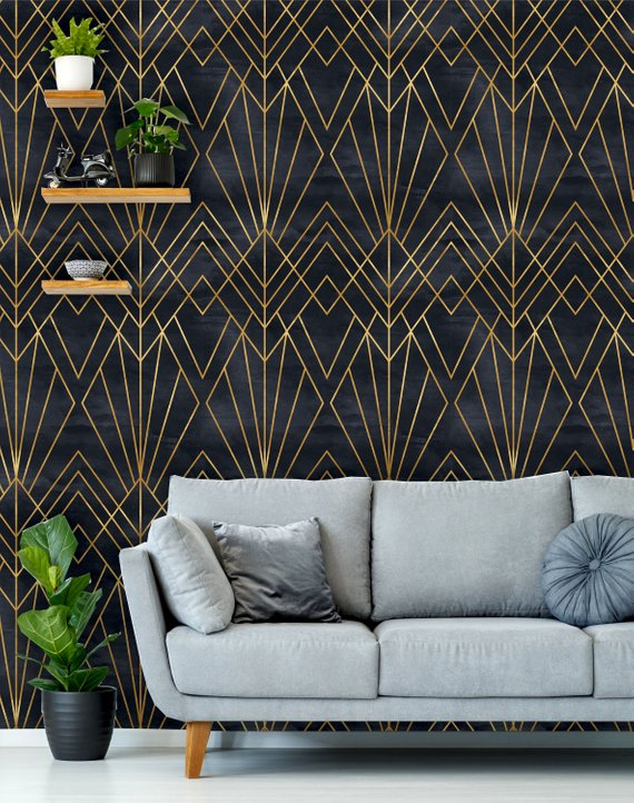Removable Peel N Stick Wallpaper Self Adhesive Wall Mural Geometric Black Gold Pattern Watercolor Black Background Art Deco Art Deco Wallpaper Peel N Stick Wallpaper Wallpaper