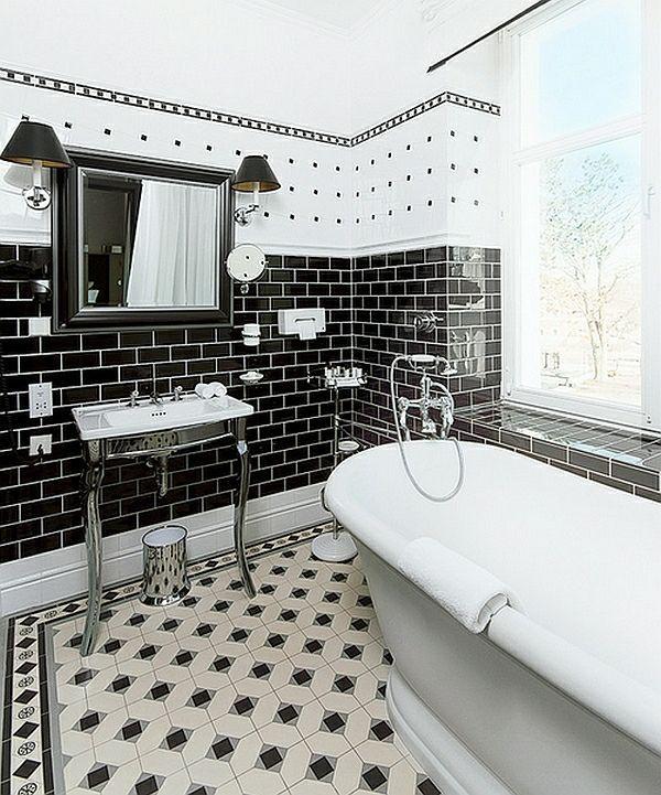 Bildergebnis für badezimmer weiß schwarz kleine fliesen Bathroom - badezimmer ideen wei