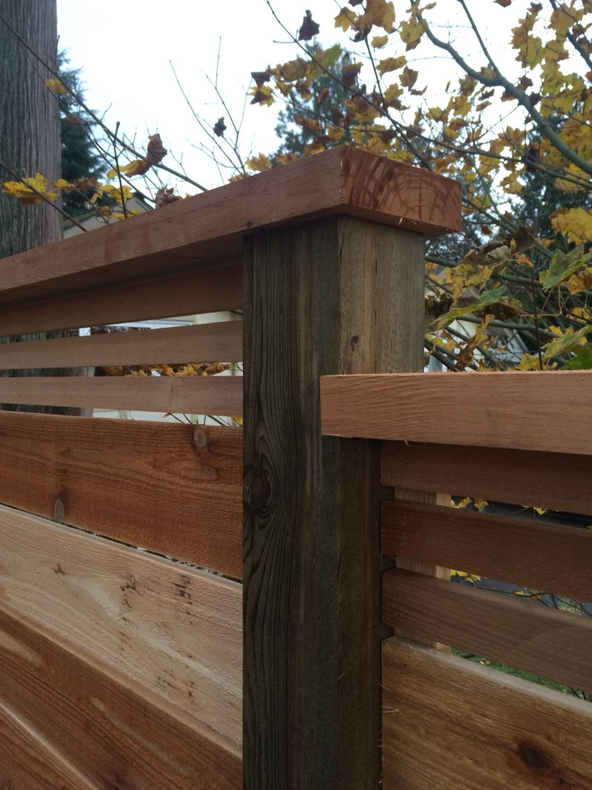 Horizontal Cedar 1x6 Then 1x2 With A 2x6 S1s 2e Cap Rail All The Details Considered For A Clean Lasting Look Cedar Deck Play Houses Cedar