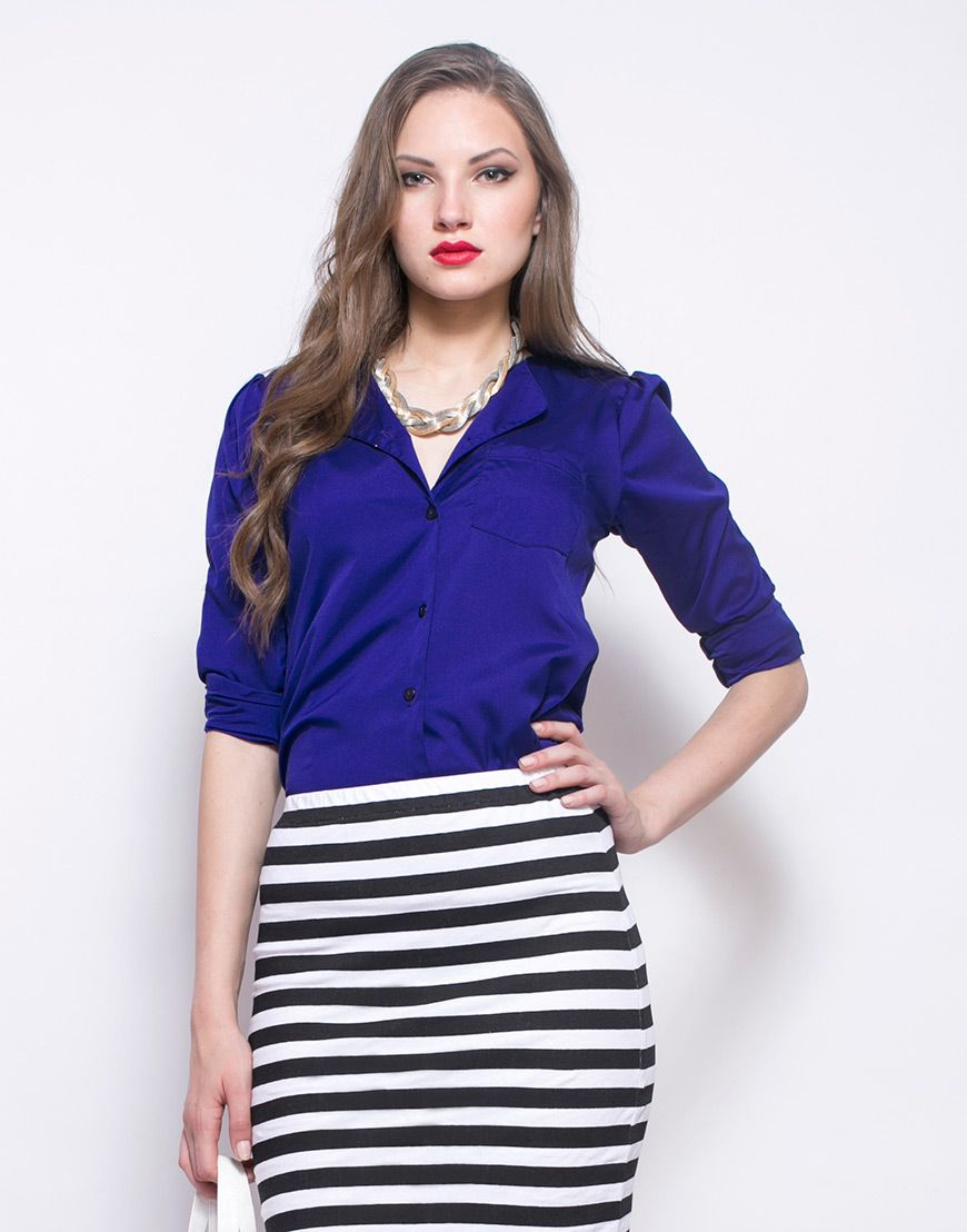 FabAlley Blue Beat Shirt - Supremely classic deep blue crepe shirt featuring a drop collar, shoulder tabs and single front pocket. Optional tab for rolled up sleeves.  Work It - Looks office ready with a striped pencil skirt and a patent black tote bag.