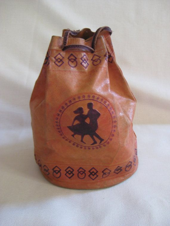 Vintage Leather Tooled Dancing Bag by VintageByThePound on Etsy, $24.00