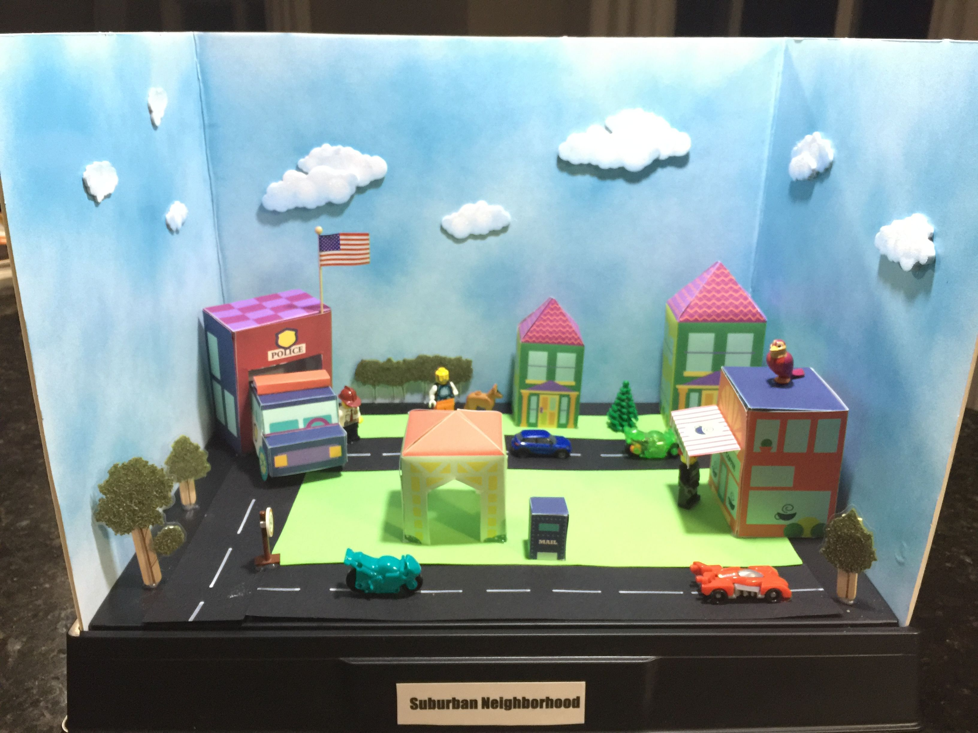 Miniature Children S Bedroom Room Box Diorama: Social Study Project: Suburban Community Diorama