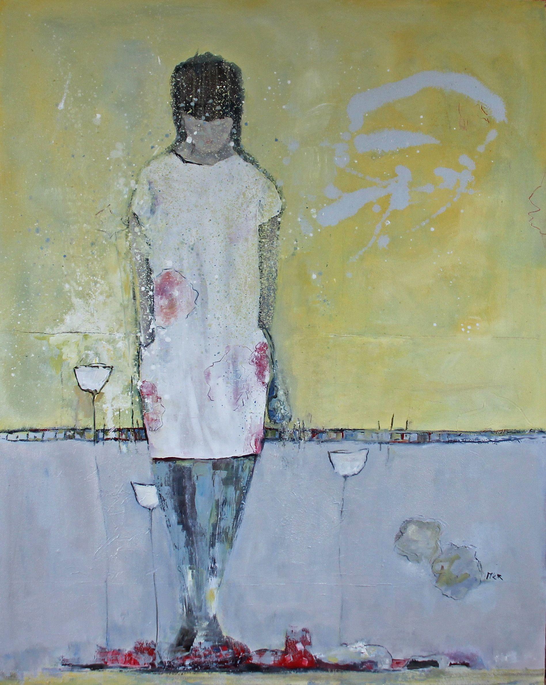 Woman with Red shoes Vrij werk, gelaagd in olieverf. Uit serie vrouwen/meisjes. Marga Klumper
