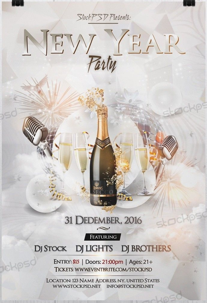 New Year 2017 Party – PSD Free NYE Flyer Template - Free PSD Flyer ...