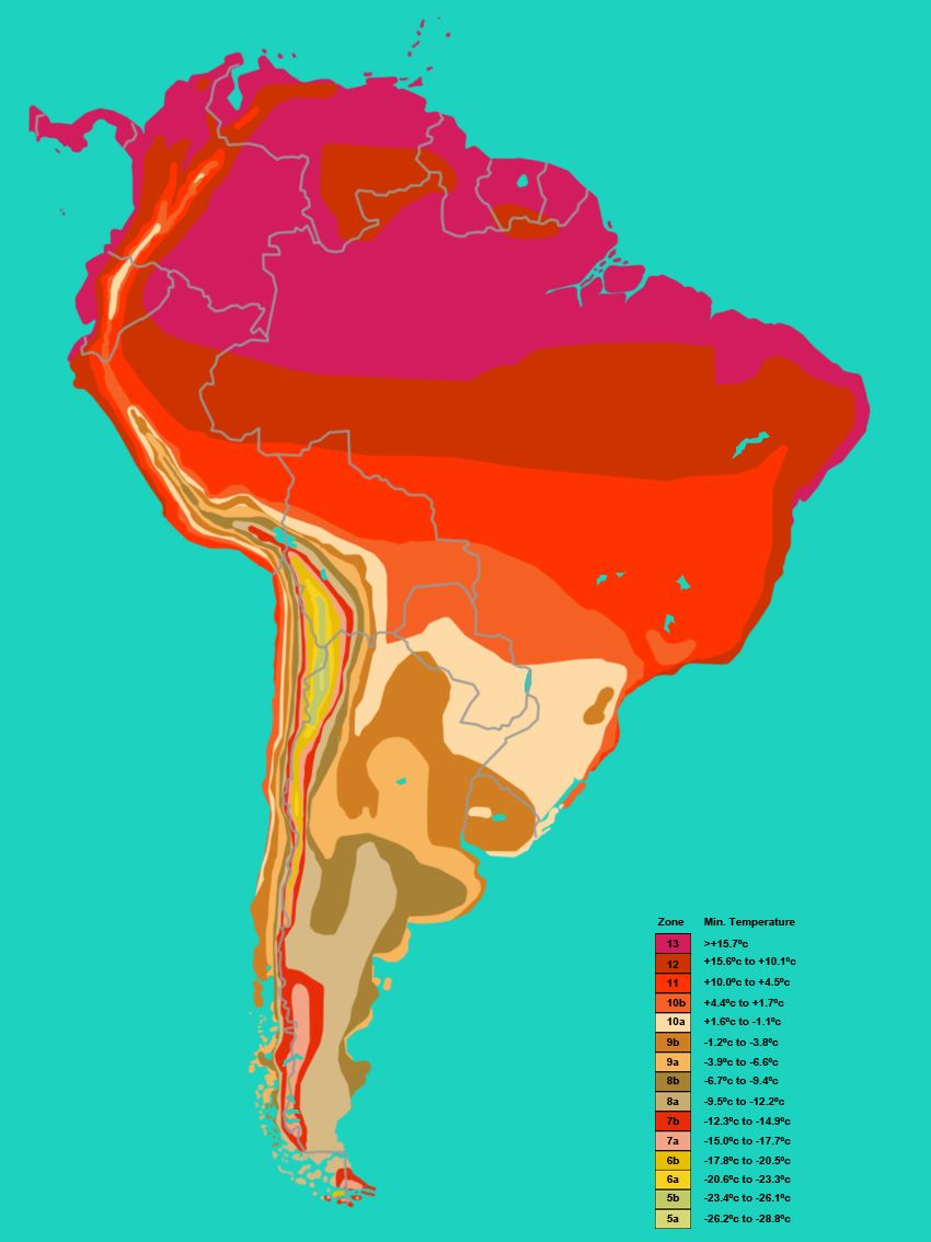 South America Hardiness Plant Zone Map Plant Hardiness Zone