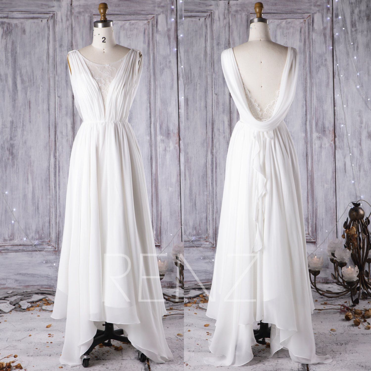 2016 Off White Chiffon Bridesmaid Dress Long, Lace Scoop Neck Wedding Dress, Ruffle Ball Gown, Draped Back Prom Dress Floor Length (HW192) by RenzRags on Etsy https://www.etsy.com/listing/474749215/2016-off-white-chiffon-bridesmaid-dress