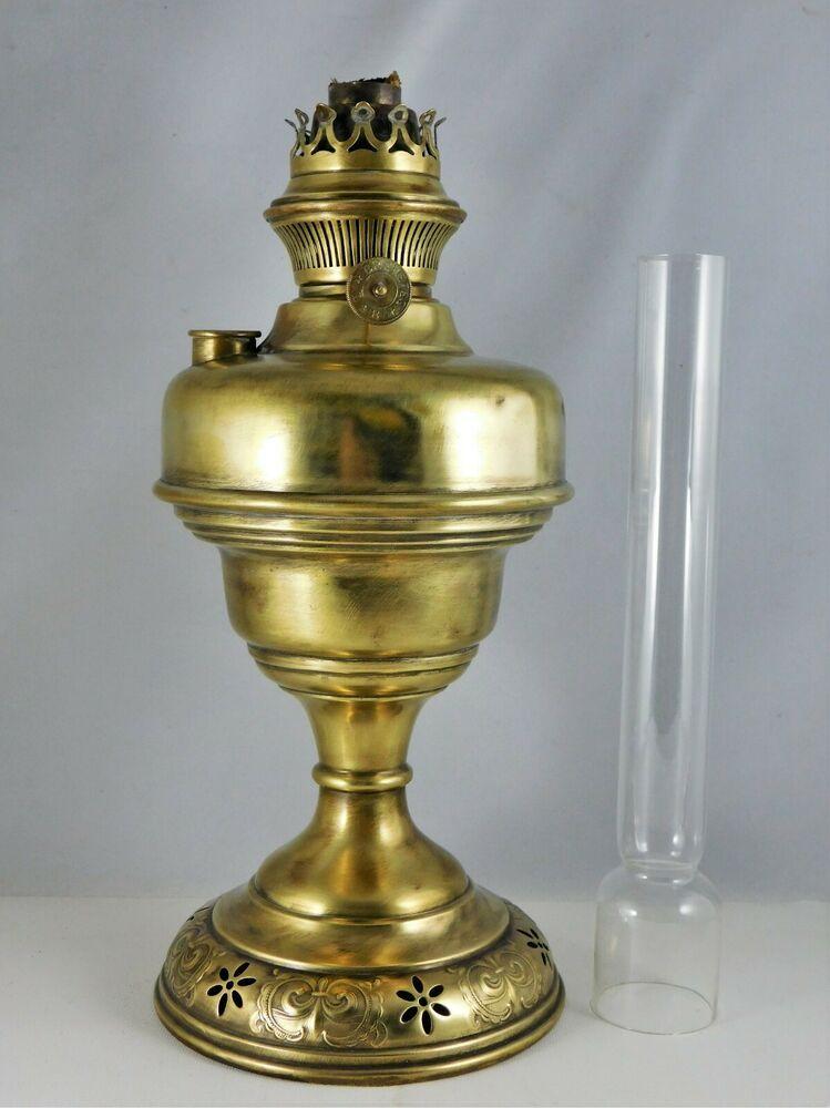 Lampe A Petrole Lempereur Bernard Liege Laiton Haut 54cm Antic